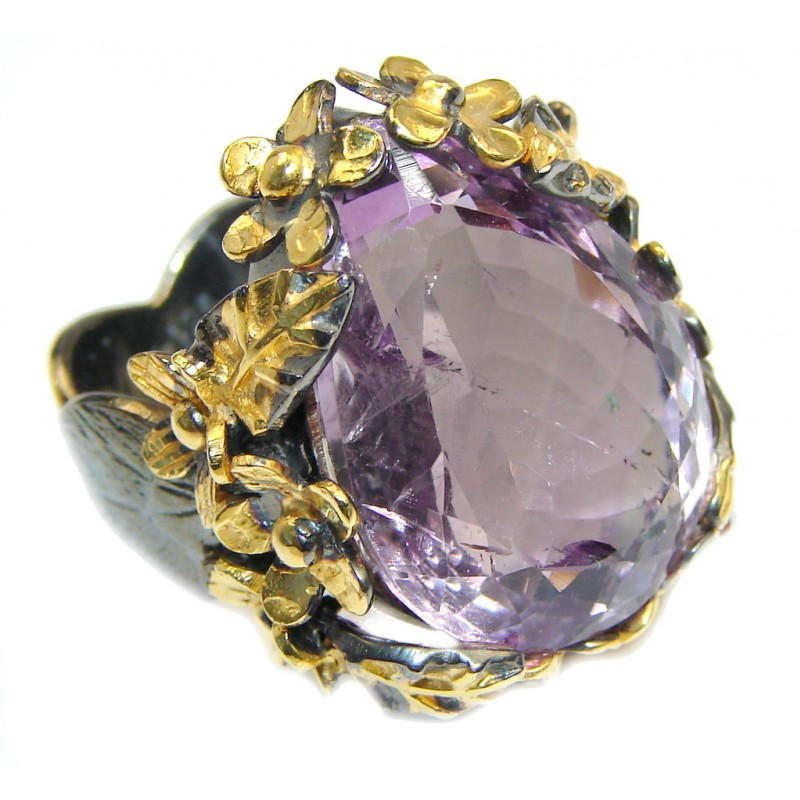 Huge Genuine Pink Amethyst Gold plated over Sterling Silver handmade ring size 7 3/4