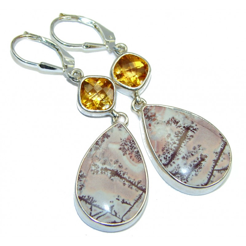 Stylish Silver Leaf Jasper Citrine Sterling Silver handmade earrings