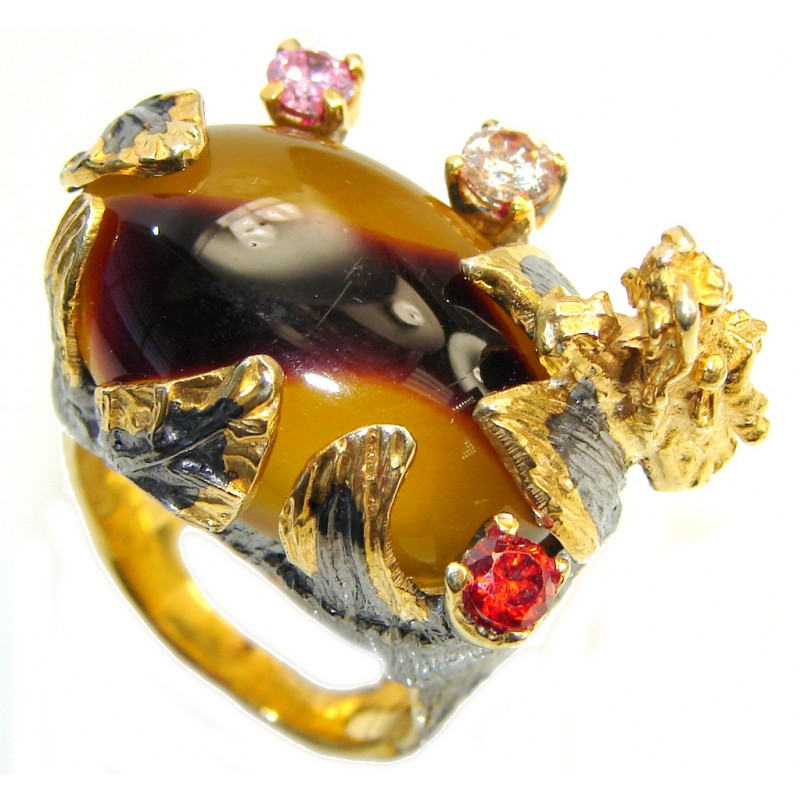 Golden Dragon Australian Mookaite Gold plated over Sterling Silver handmade Ring size 8