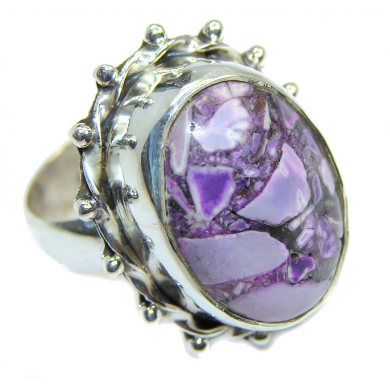 Purple Crinoid Fossil Sterling Silver Ring size 5 3/4