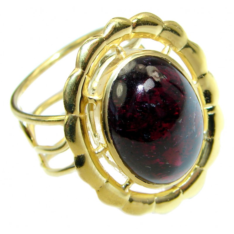 Genuine 20 ct Rhodolite Garnet Gold lated over Sterling Silver made ring size adjustable