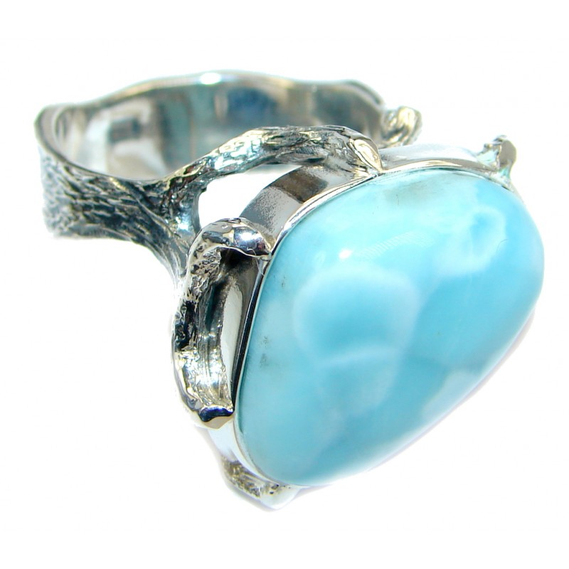Huge Genuine Larimar Oxidized Sterling Silver handmade Ring size 9
