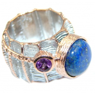 Ultra modern Royal Blue Lapis Lazuli Rose Gold plated over Sterling Silver Ring s. 6 1/2