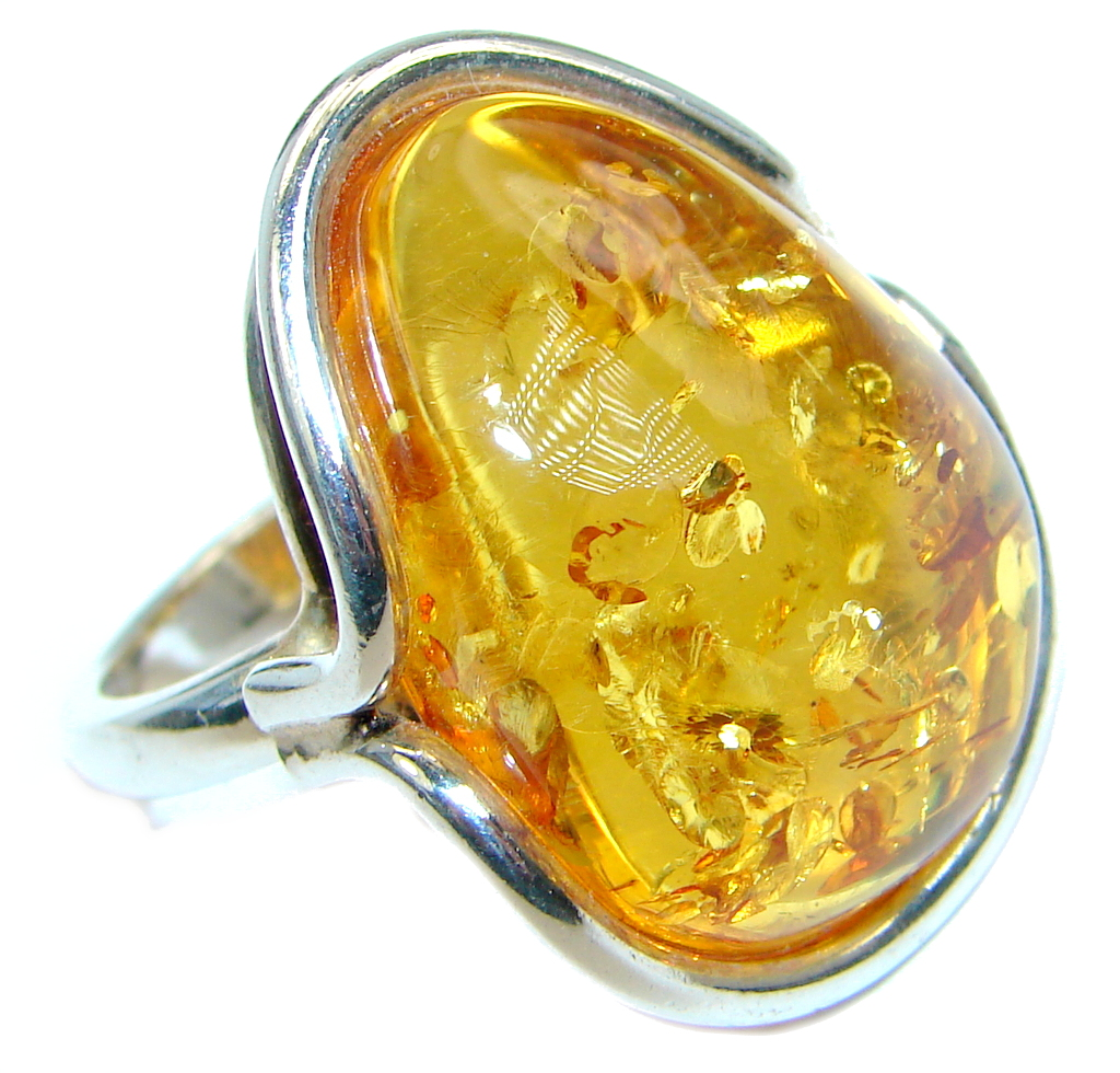 Chunky Genuine Baltic Polish Amber Sterling Silver