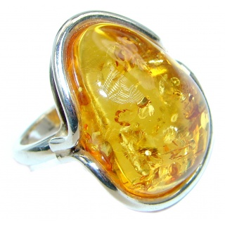 Chunky Genuine Baltic Polish Amber Sterling Silver handmade Ring size 7 1/2