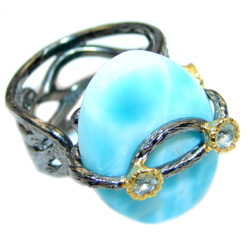 Huge Genuine Larimar Oxidized Two Tones Sterling Silver handmade Ring size adjustable
