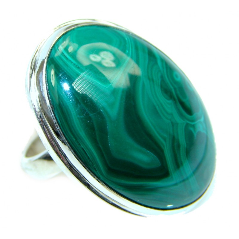 Natural great quality Malachite Sterling Silver handcrafted ring size adjustable