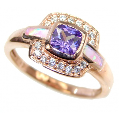 Japanese Fire Opal Cubic Zirconia Gold plated over Sterling Silver ring s. 7 1/4
