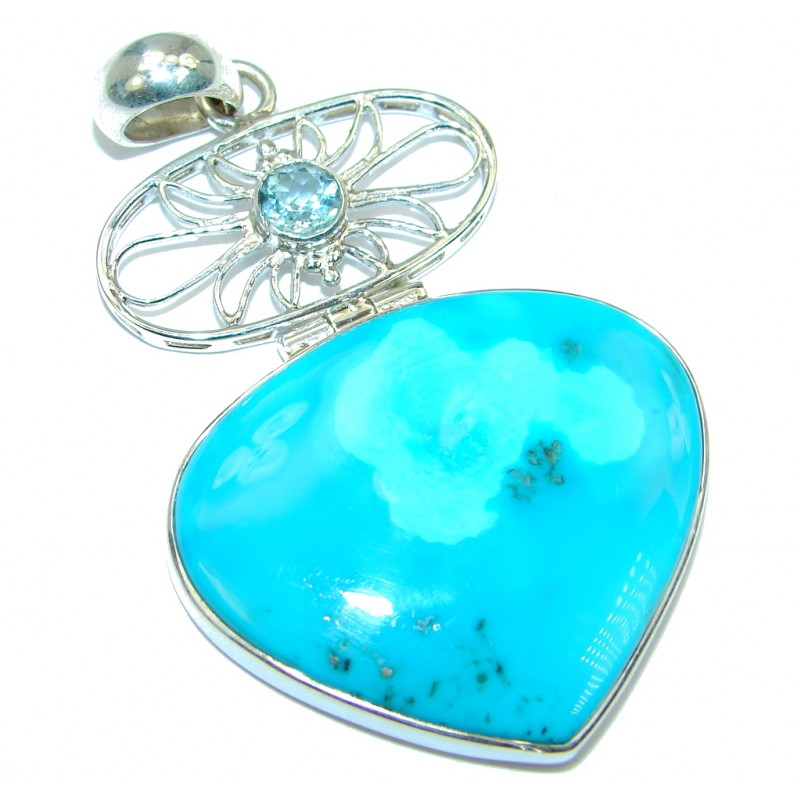 Big! AAA+ quality Sleeping Beauty Blue Turquoise Sterling Silver handmade Pendant
