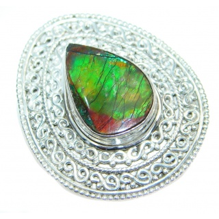 Authentic Canadian Fire Ammolite Sterling Silver ring size 7 3/4