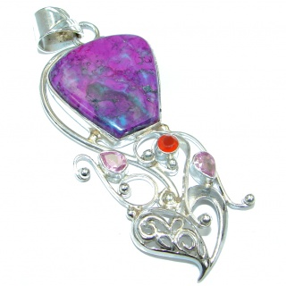 Genuine Purple Turquoise Sterling Silver handmade Pendant