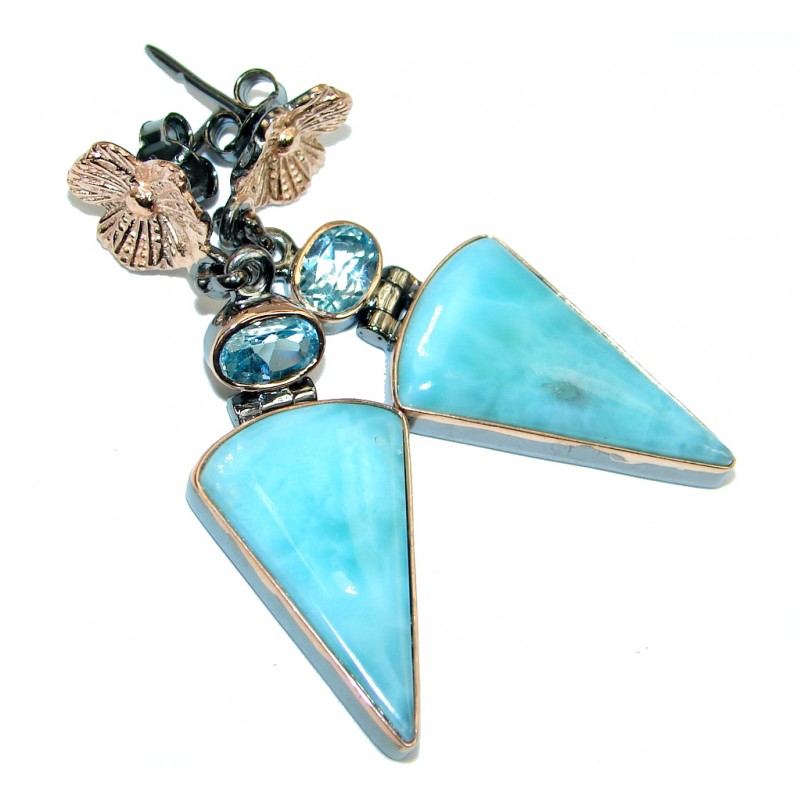 Precious Blue Larimar Sterling Silver Topaz handmade earrings
