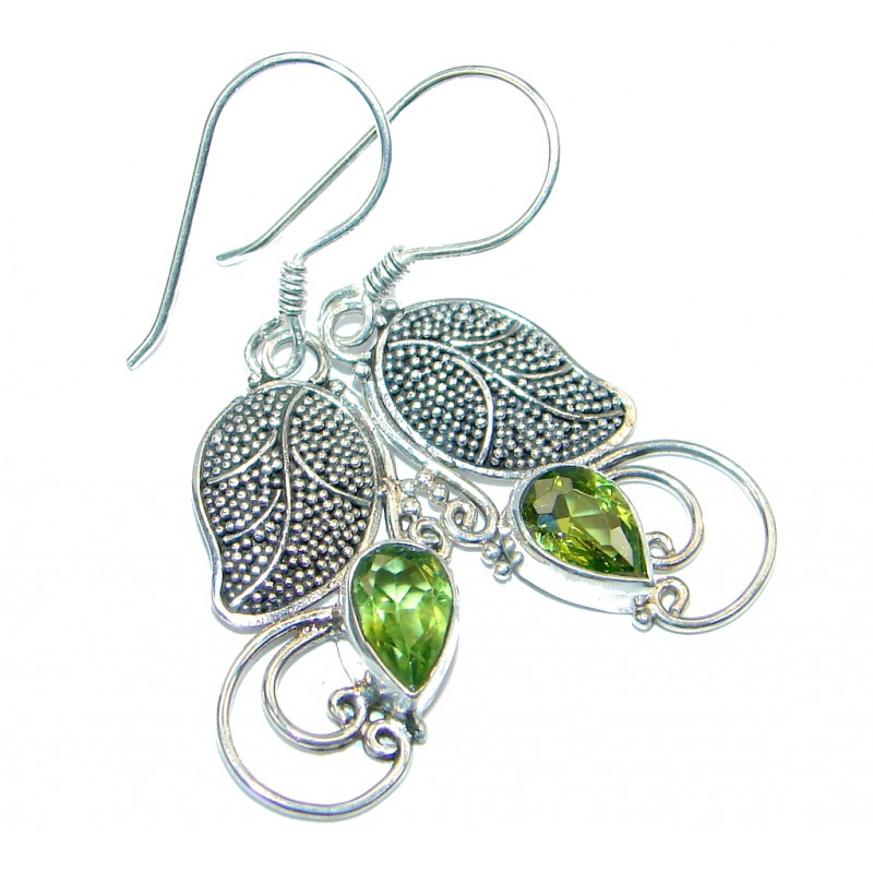 Genuine Pearl Peridot Sterling Silver handamde earrings