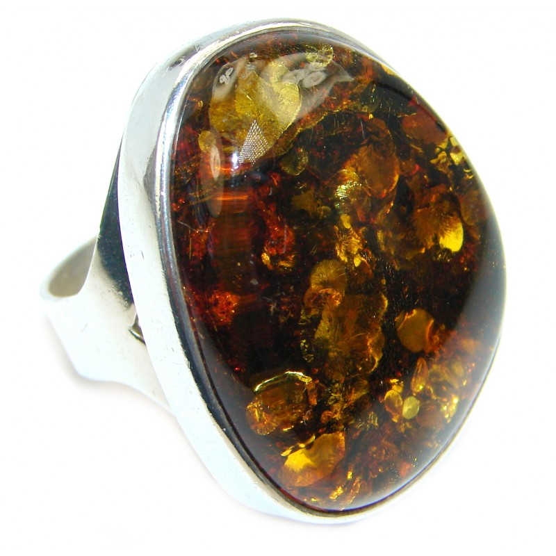 Chunky Genuine Baltic Polish Amber Sterling Silver handmade Ring size 10 1/2
