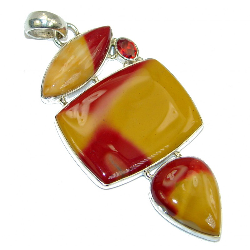 Natural Australian Mookaite Garnet Sterling Silver handcrafted Pendant