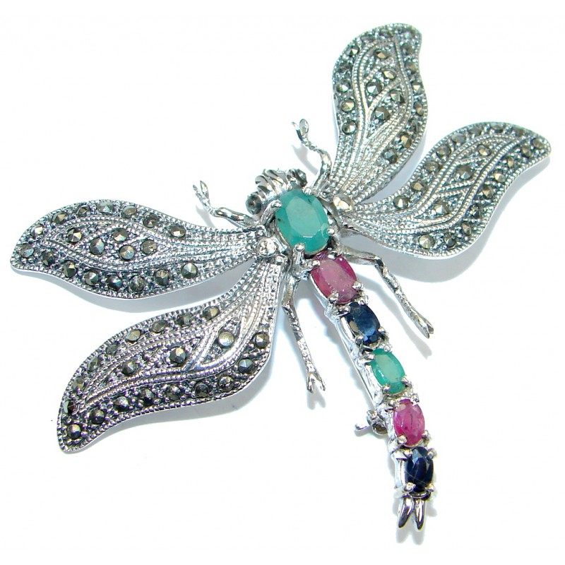 Huge Dragonfly Red Ruby Sapphire Emerald Marcasite 925 Sterling Silver Big Brooch
