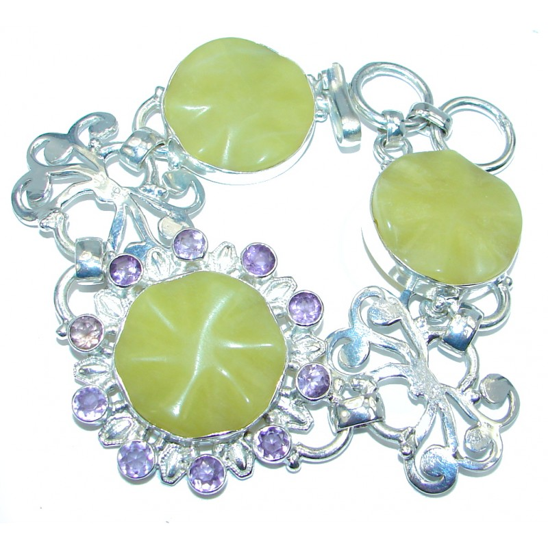 Simple Protection Green Jade Silver Tone Bracelet