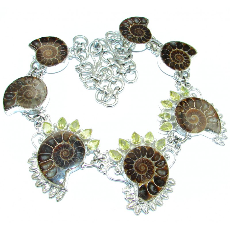 144.3g Aura Of Beauty genuine Ammonite Silver Tone handcrafted Necklace