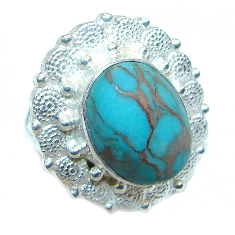 Great created Turquoise Silver Tone Ring size 9