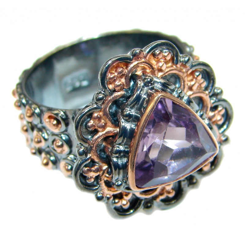 Vintage Look Amethyst Rose Gold plated over Sterling Silver handmade ring size adjustable