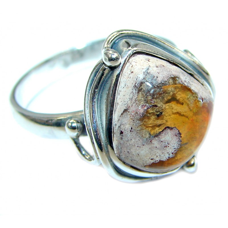 Mexican Fire Opal Oxidized Oxidized Sterling Silver handmade Ring size 8 1/4