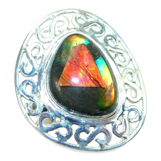 Authentic Canadian Fire Ammolite Sterling Silver ring size 8 3/4