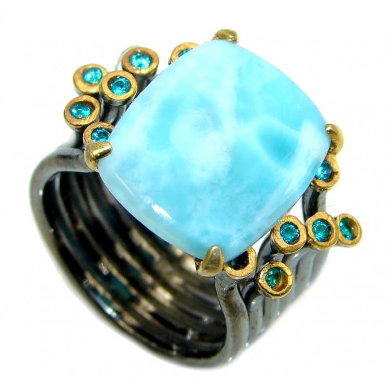 Vintage Style Larimar Tanzanite Gold plated over Sterling Silver Ring size 8