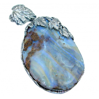 63.6 grams! Beautiful Natural Australian Boulder Opal Oxidized Sterling Silver handmade Pendant