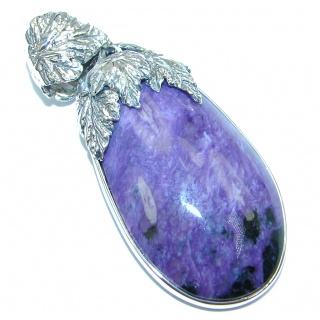 Huge Genuine AAA quality Purple Siberian Charoite Sterling Silver handmade Pendant