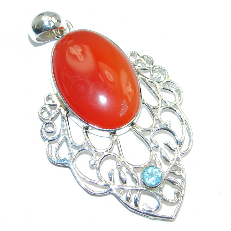 Beautiful Carnelian Swiss Blue Topaz Sterling Silver handmade Pendant