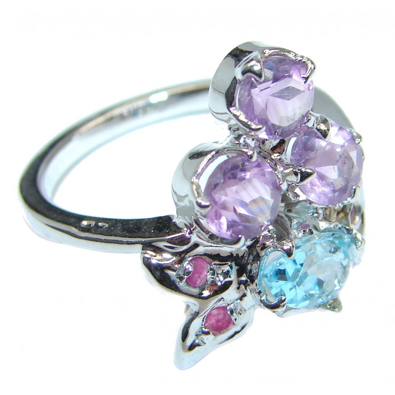 Genuine Pink Amethyst Sterling Silver handmade ring size 7