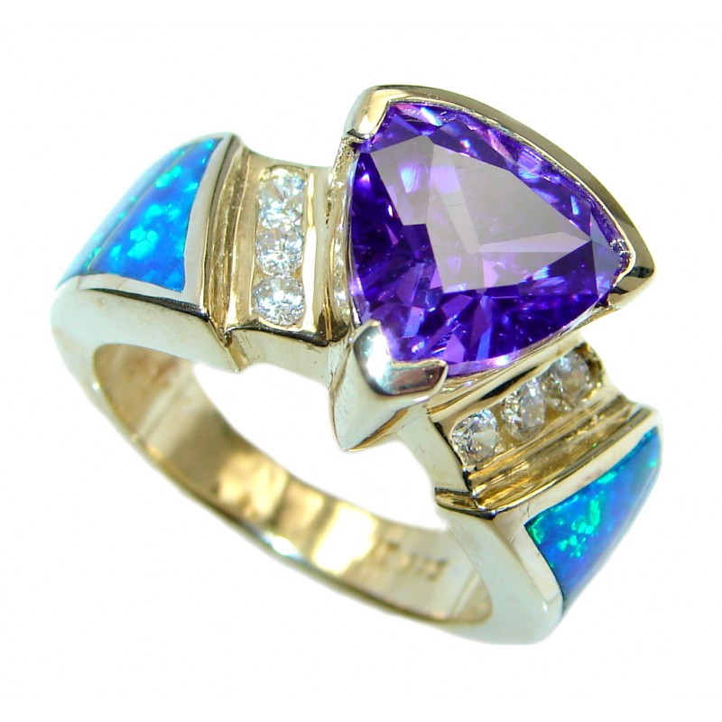 Japanese Fire Opal Cubic Zirconia Gold plated over Sterling Silver ring s. 7