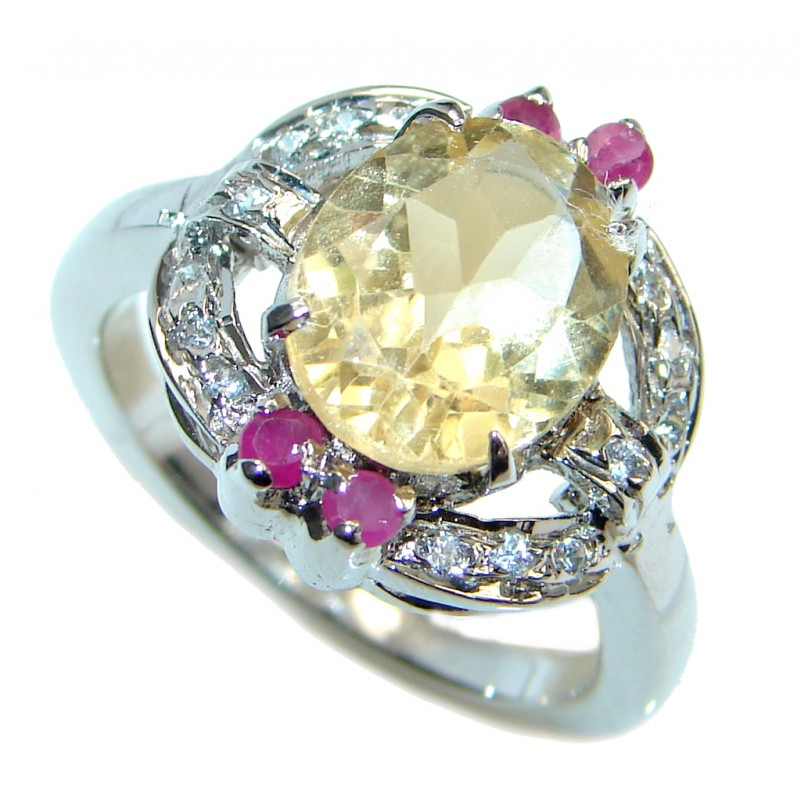 Golden Flower Genuine Citrine Ruby Sterling Silver Ring size 7 1/2