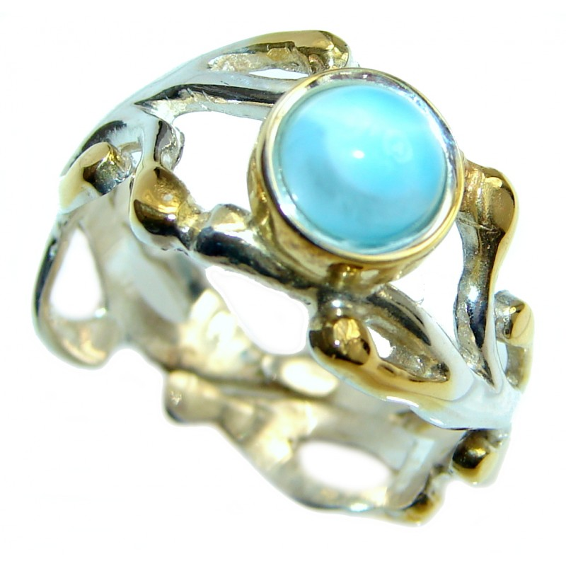 Genuine Larimar Oxidized Two Tones Sterling Silver handmade Ring size adjustable