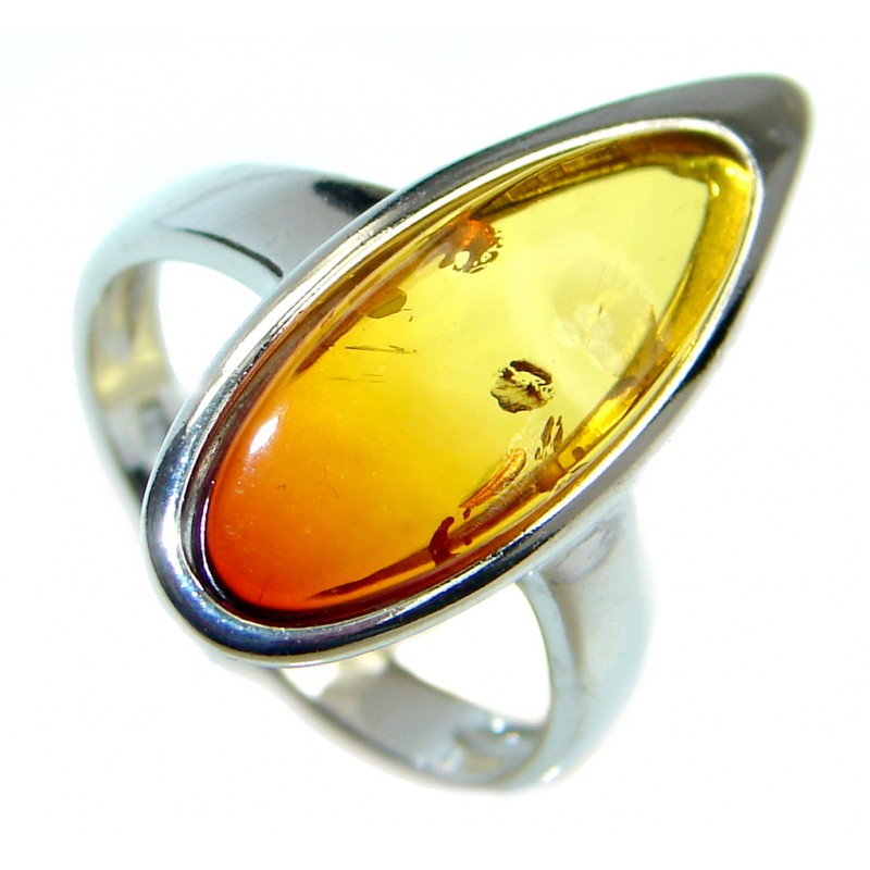 Genuine Baltic Polish Amber Sterling Silver handmade Ring size 5 3/4