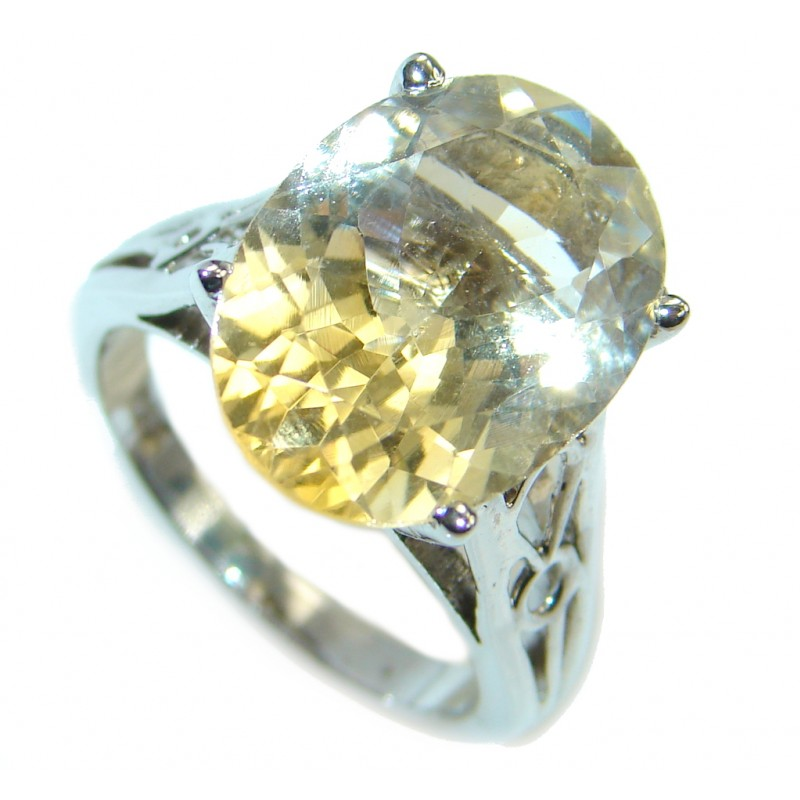 Natural Citrine Sterling Silver handmade ring size 8 1/4