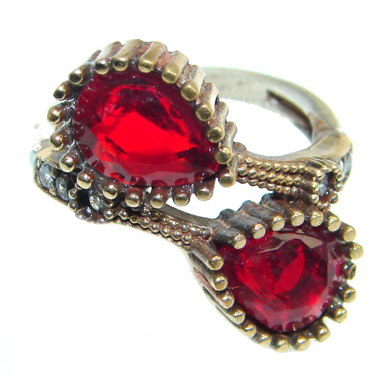 Victorian Style created Ruby & White Topaz Sterling Silver ring; s. 8