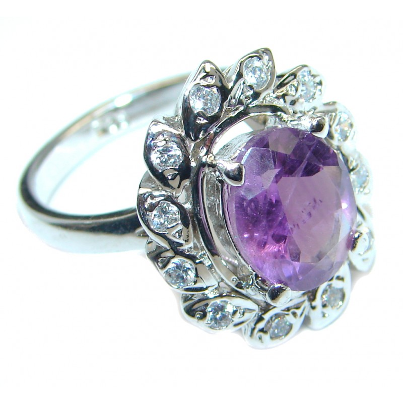 Amazing Natural Amethyst Sterling Silver handmade Ring size 8 1/4