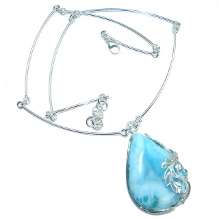 Great Masterpiece Natural Blue Larimar Oxidized Sterling Silver handmade necklace