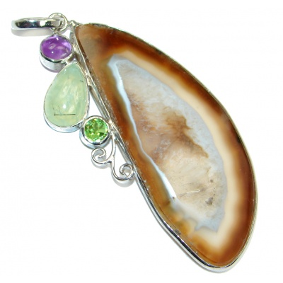 Authentic Brown Aura Botswana Agate Sterling Silver handmade Pendant