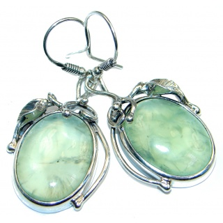 Authentic Moss Prehnite Gold Rhodium plated over Sterling Silver earrings
