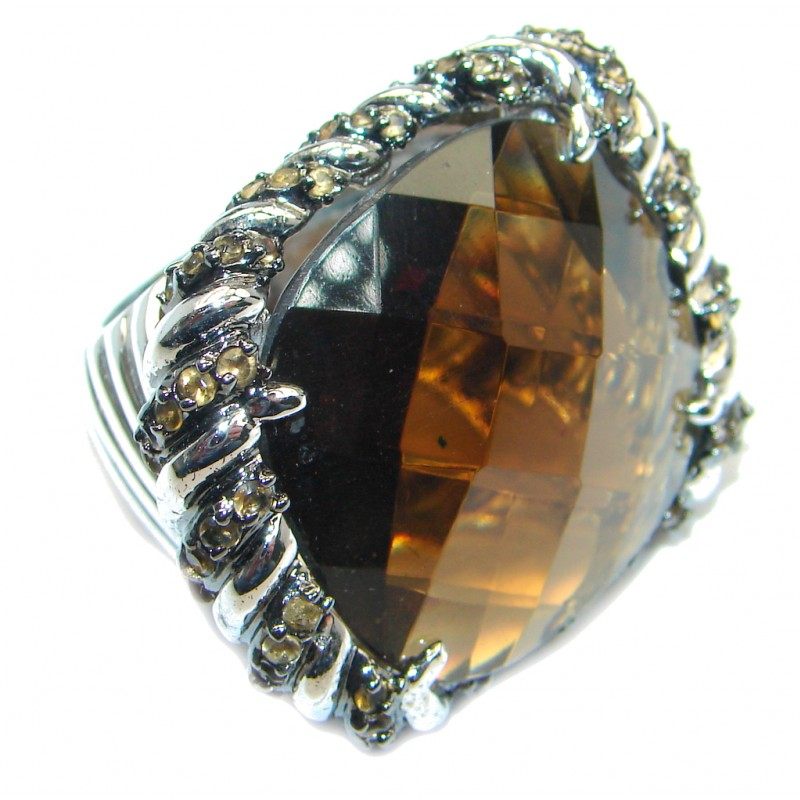 Amazing Smoky Topaz Gold plated over Sterling Silver Coctail ring size 6