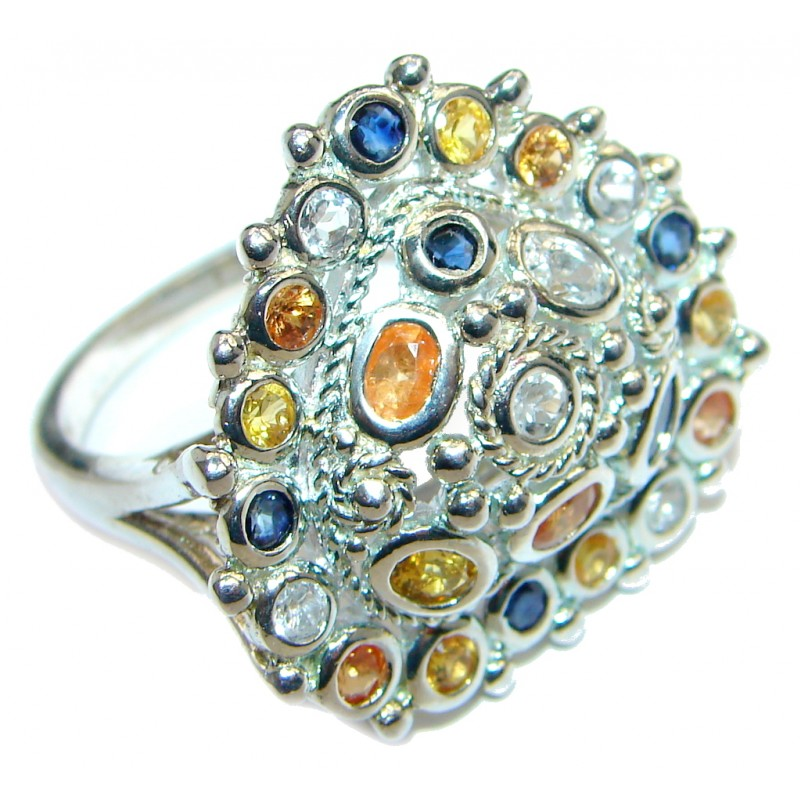 Amazing Multicolor Sapphire Rhodium Plated Sterling Silver Ring s. 9 3/4
