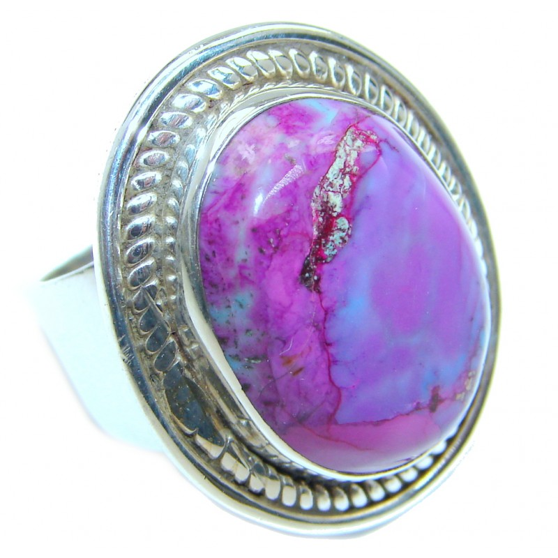 Exotic Purple Turquoise Sterling Silver Ring s. 7 1/2
