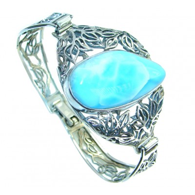 AAA+ quality Blue Larimar Oxidized Sterling Silver handmade Bracelet / Cuff