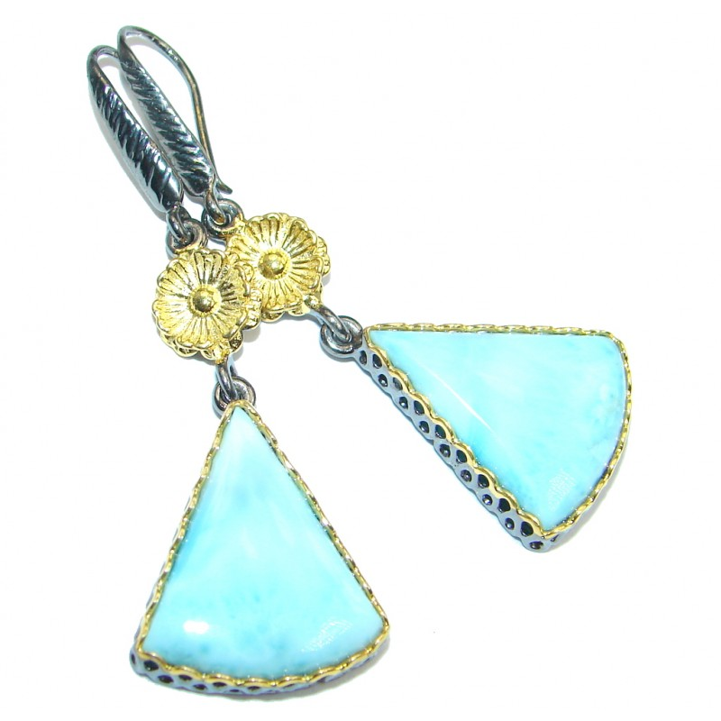 Precious Blue Larimar Gold plated over Sterling Silver handmade earrings