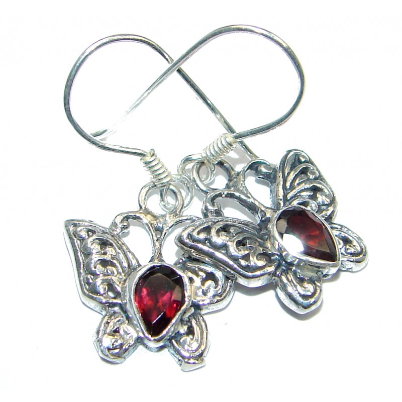 Perfect Aura Garnet Sterling Silver earrings
