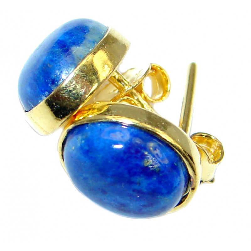 Outstanding Sublime Blue Lapis Lazuli Gold over Sterling Silver stud earrings