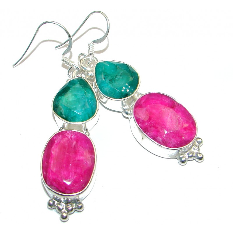 Chunky Red Ruby Emerald Silver Tone handcrafted earrings