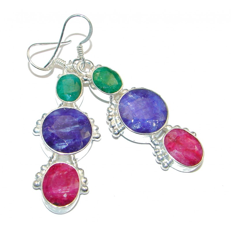 Chunky Red Ruby Emerald Sapphire Silver Tone handcrafted earrings